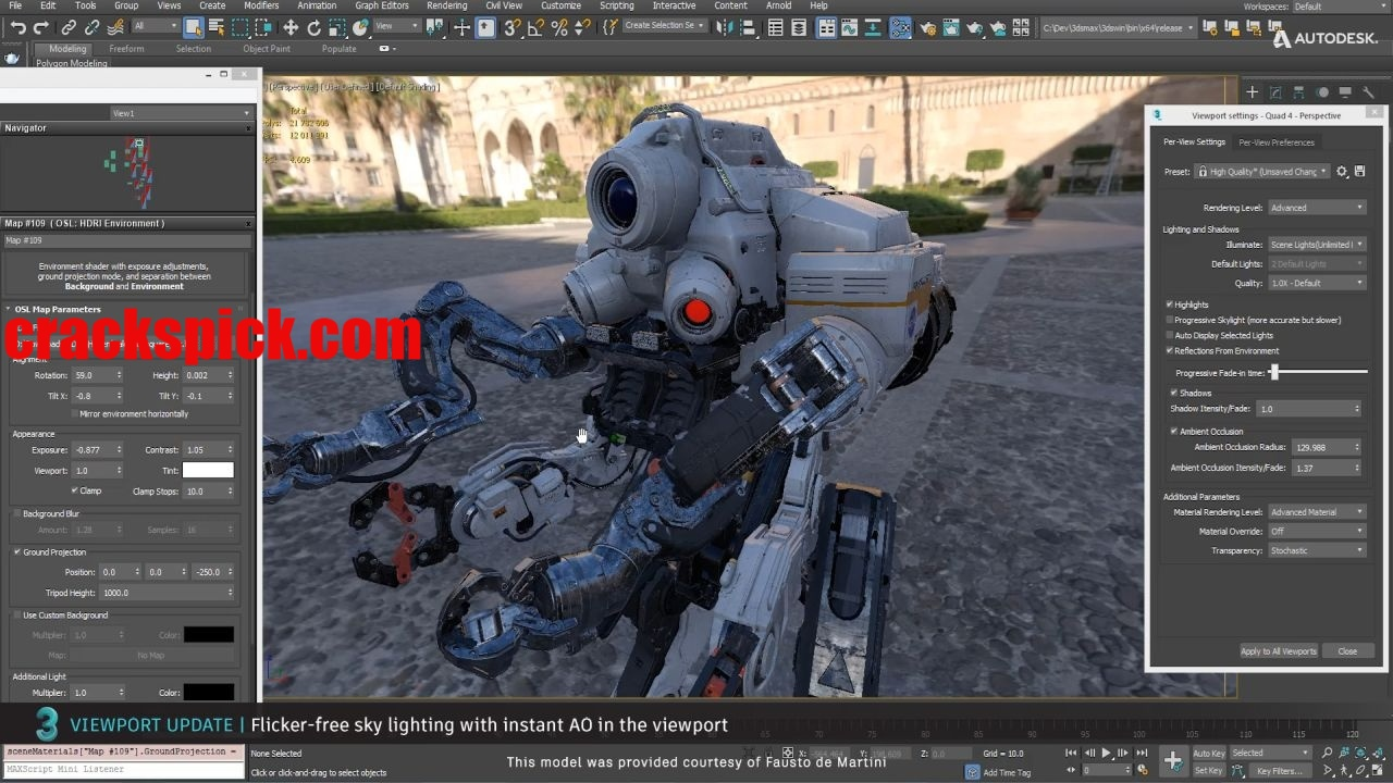 viewport update 04 3ds max 2021 flicker free sky lighting with instant ao in the viewport 1280